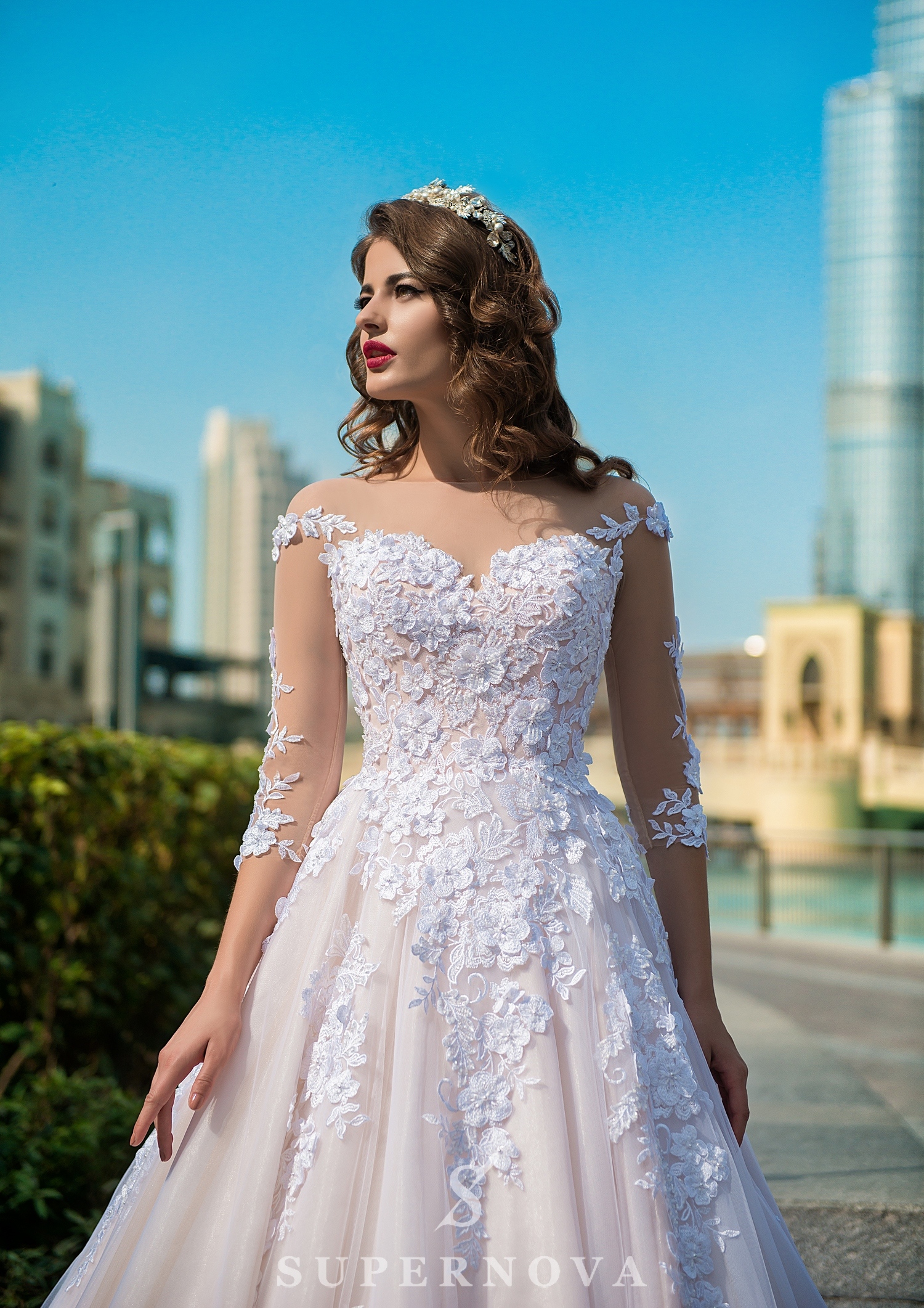 ¾ sleeve wedding dress-1