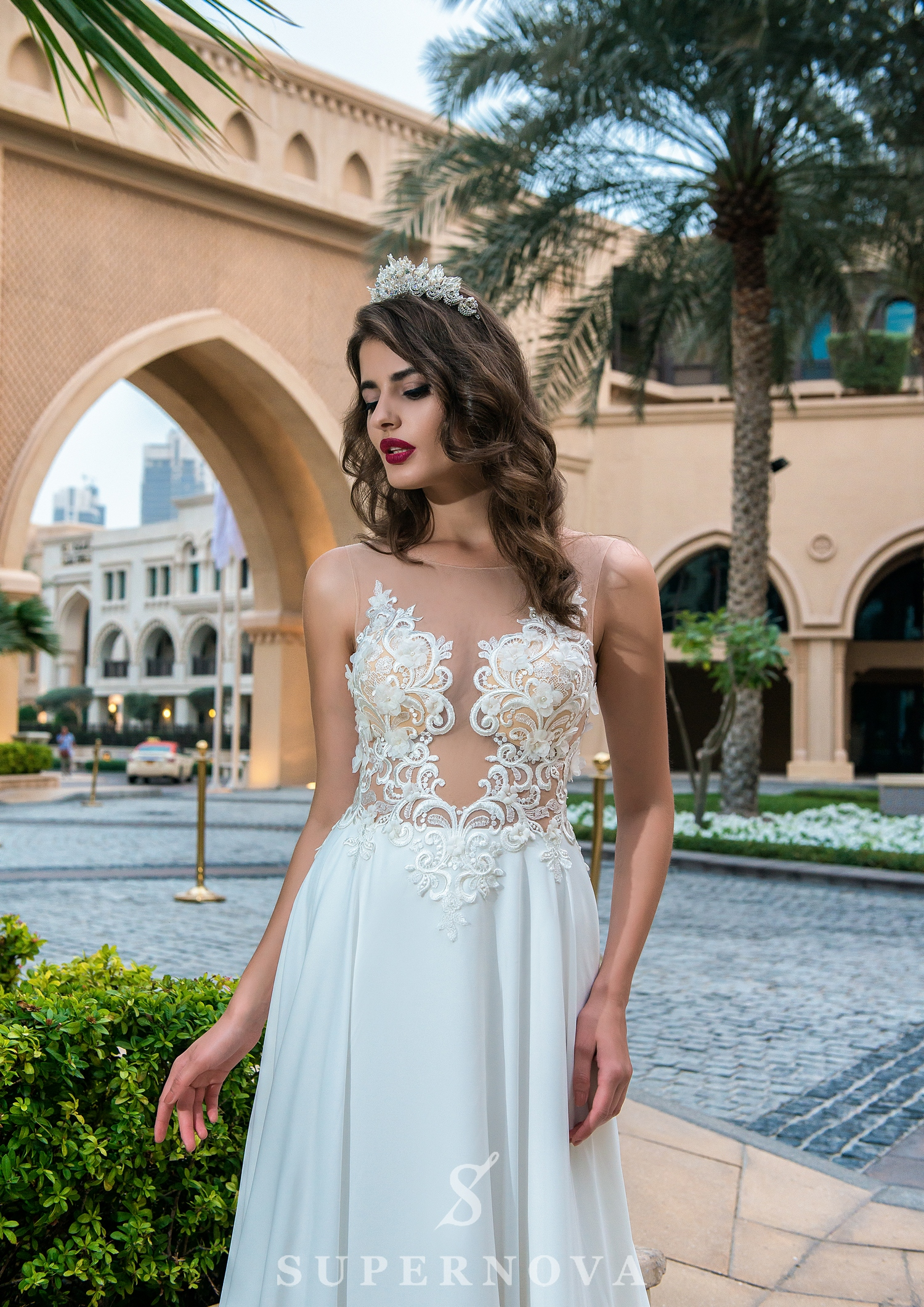 Euro mesh wedding dress-1
