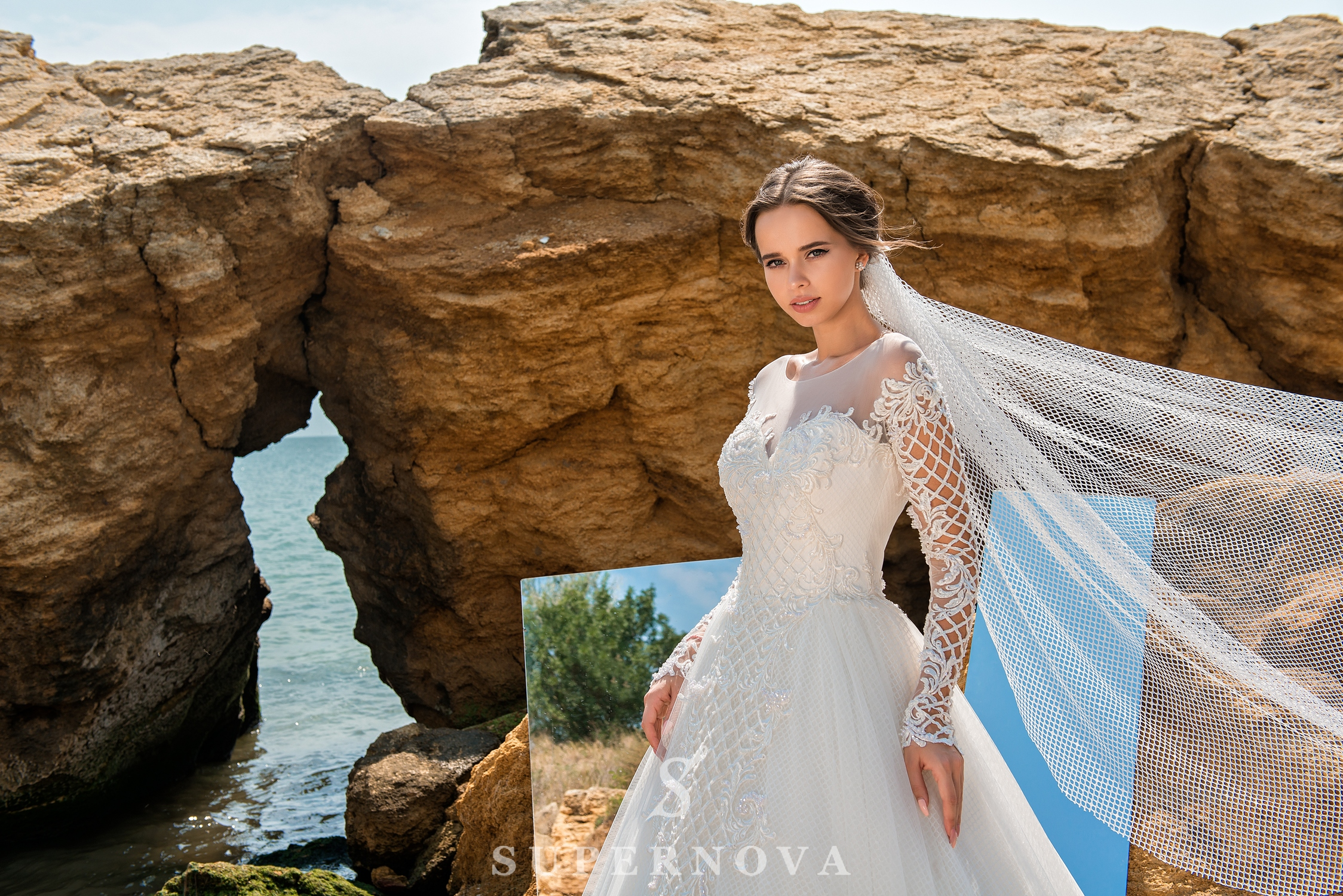 Wedding dress with low line of sleeves-1