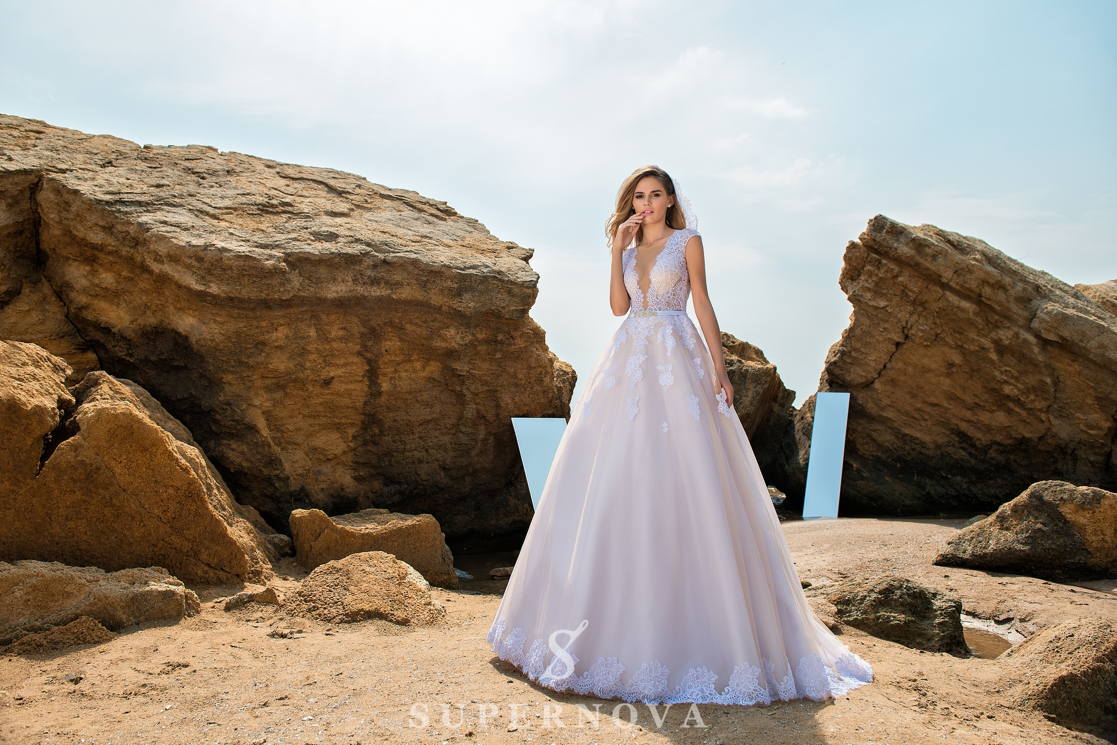 Wedding dress with soft bodice and puffy skirt-1