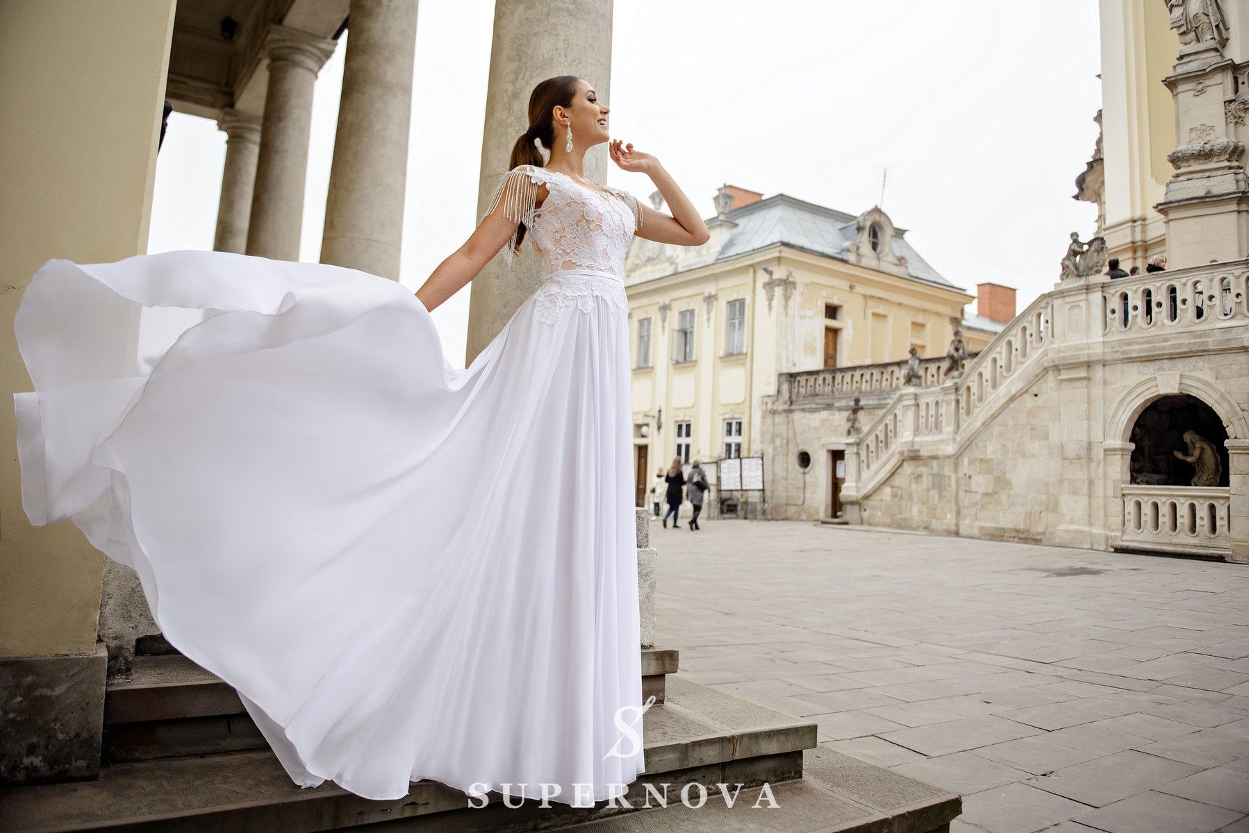 Весільна сукня з шифоновою спідницею на кокетці оптом від SuperNova-1