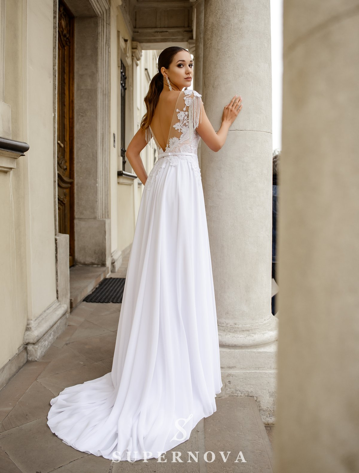 Wedding dress with a chiffon skirt on a yoke on wholesale from SuperNova-1