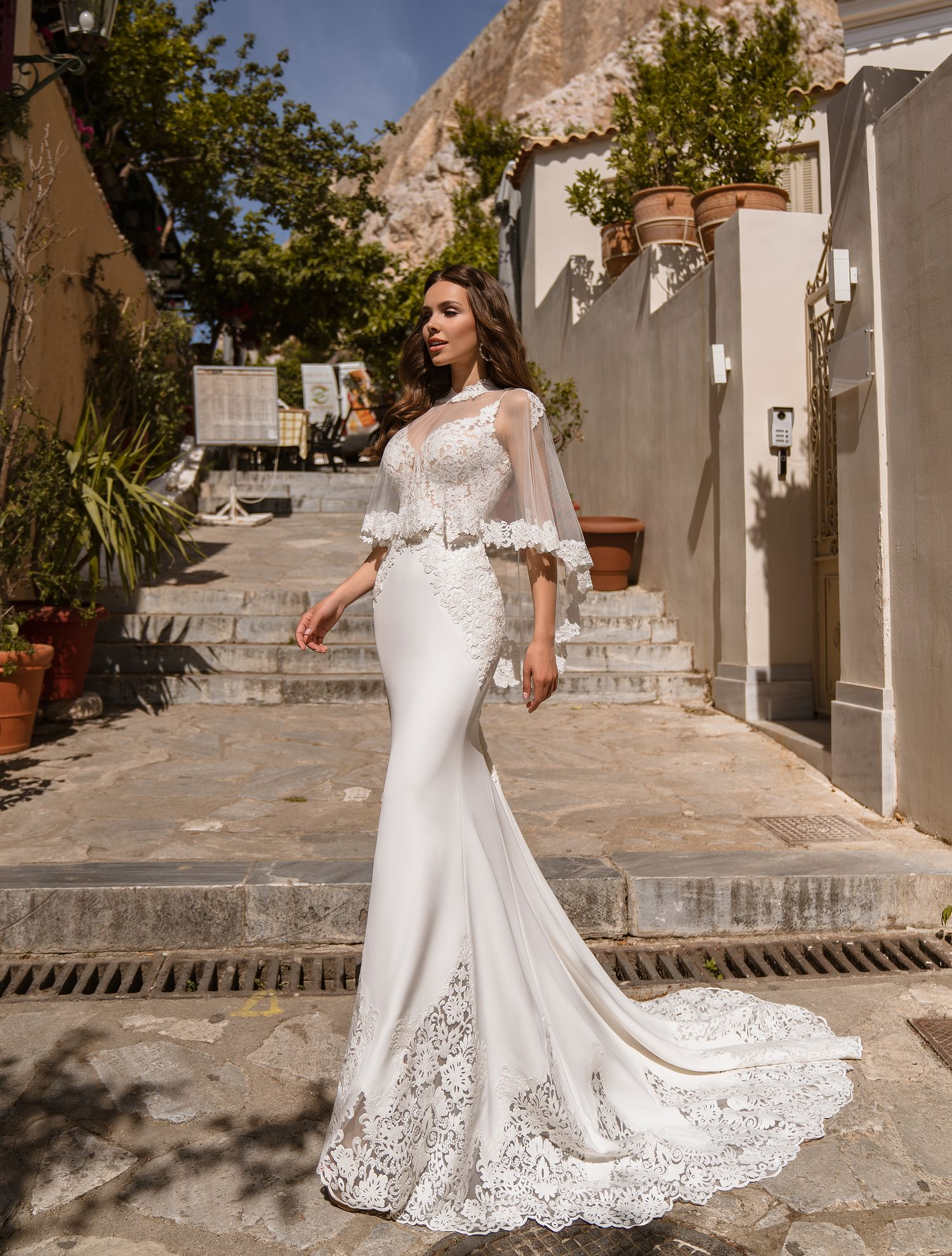 Wedding dress with cape wholesale from manufacturer Supernova-1