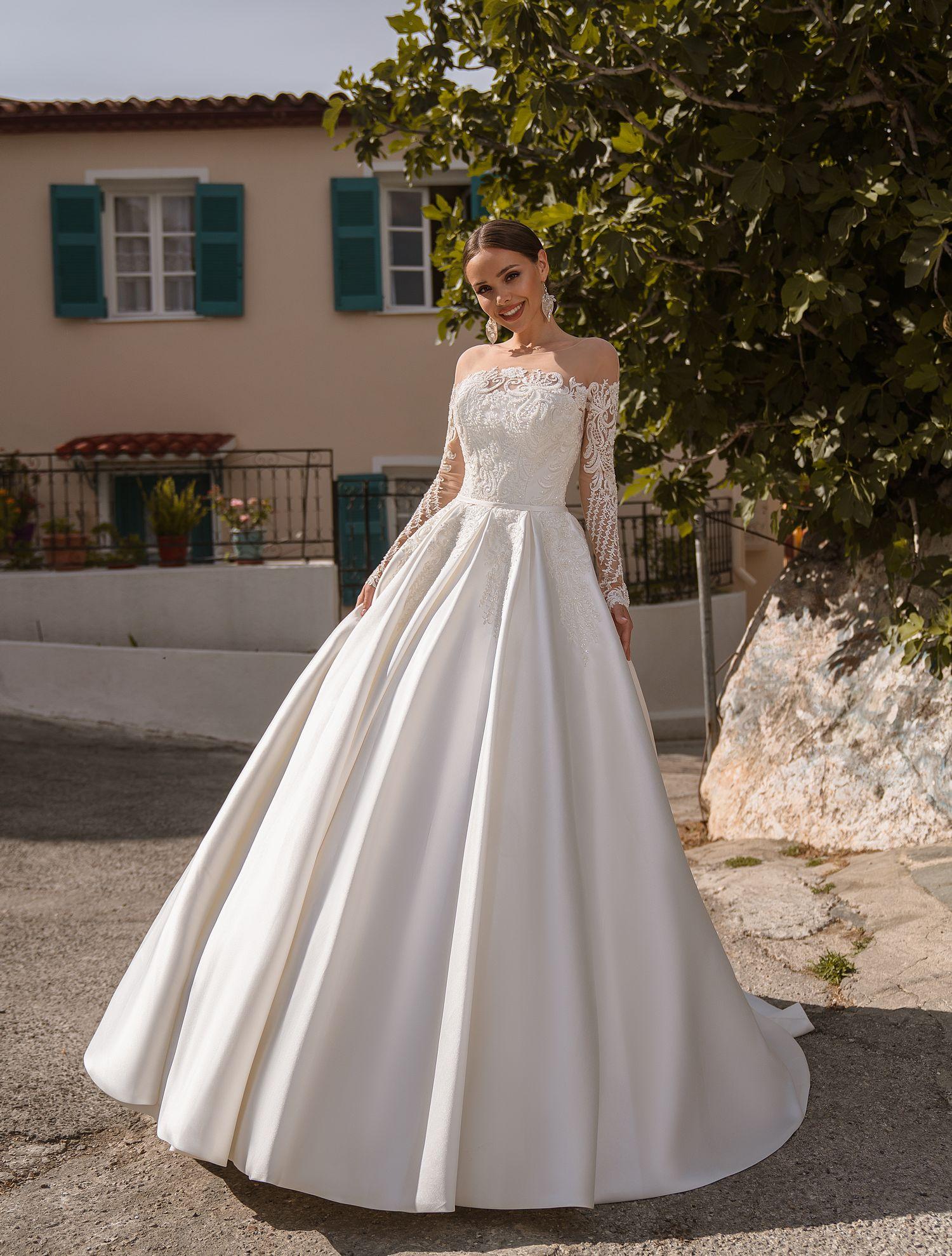 Весільна сукня з тканини мікадо від виробника ТМ Supernova оптом-1