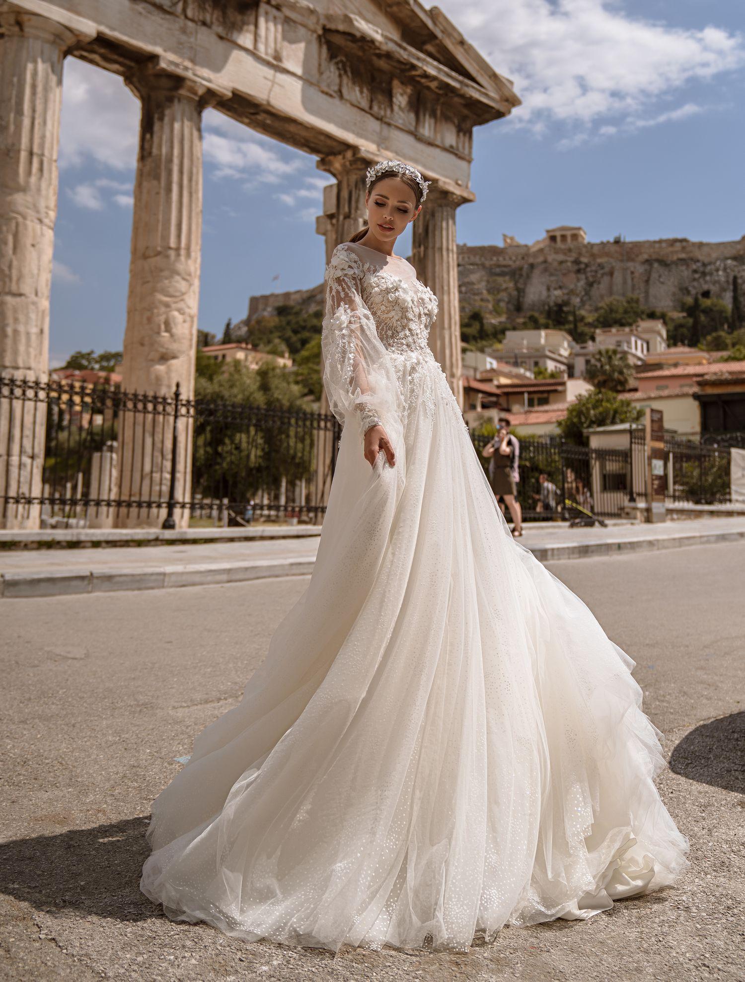 Свадебное платье с объемным гипюром от производителя Supernova оптом-1