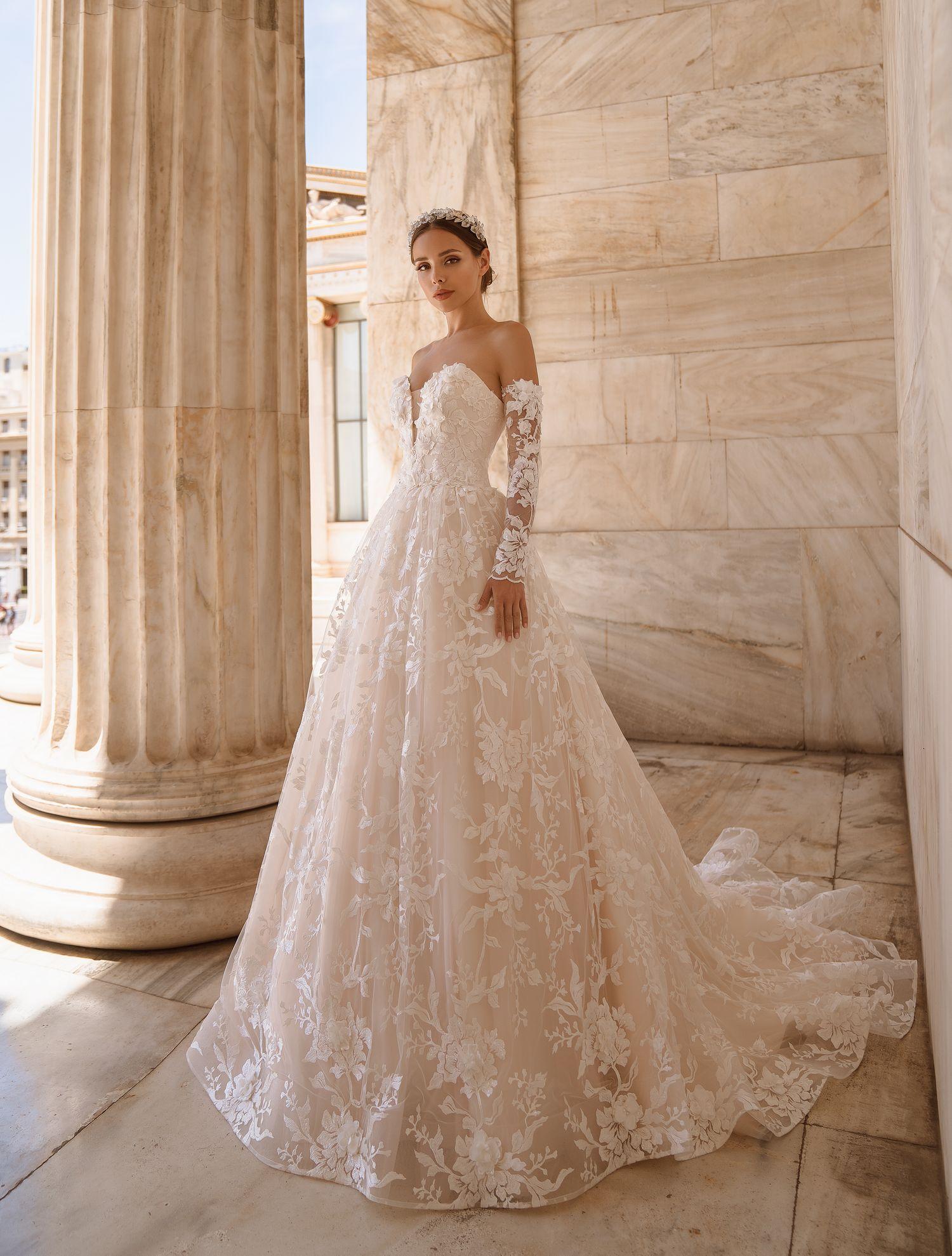 Свадебное платье с открытыми плечами от производителя Supernova оптом-1