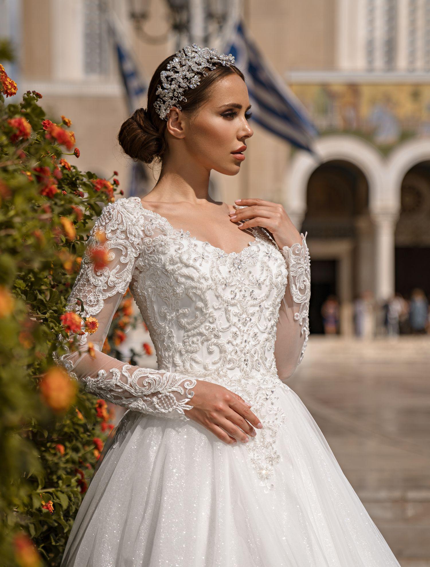 Свадебное платье с длинными рукавами от компании Supernova оптом-1