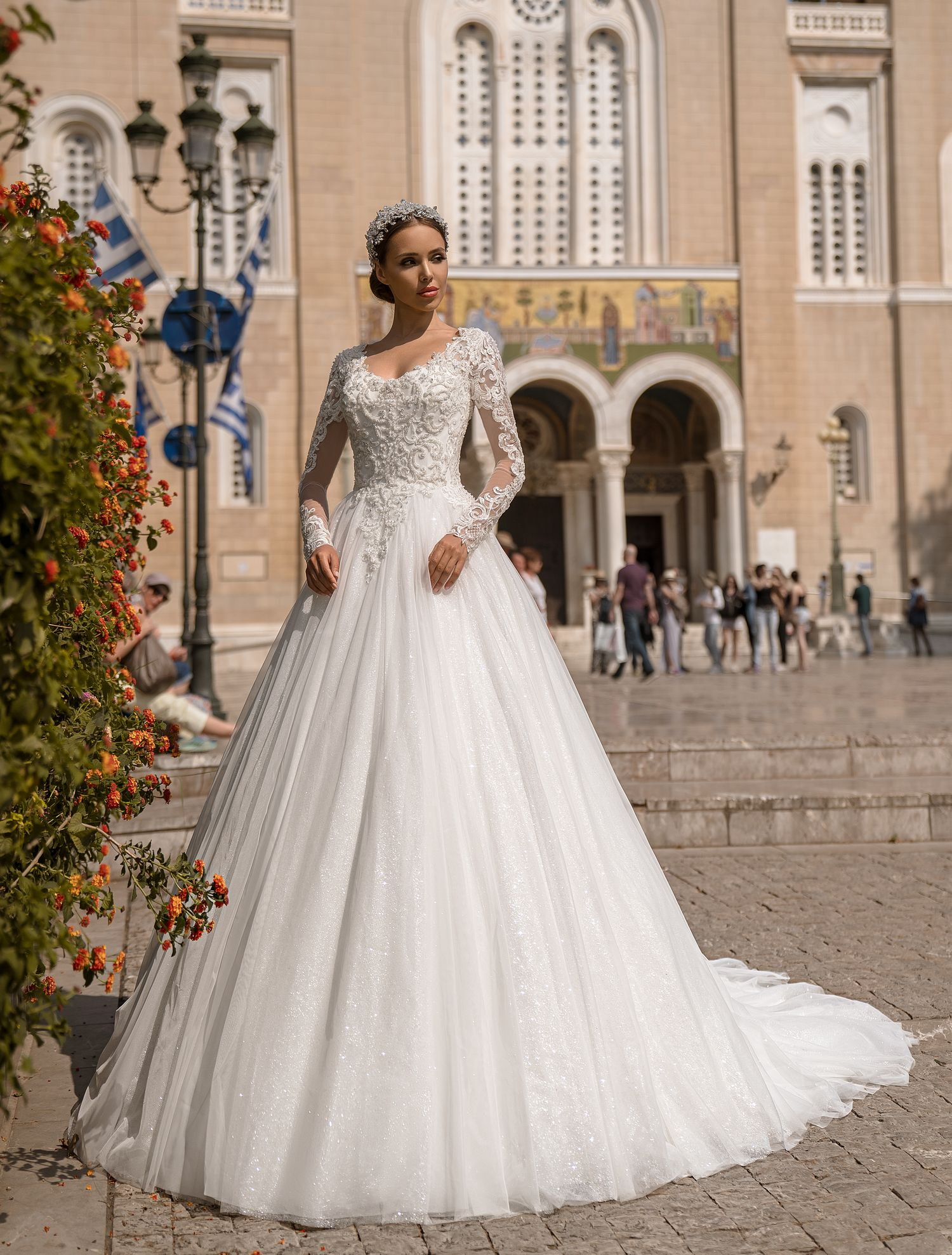 Wedding dress with long sleeves from Supernova wholesale-1