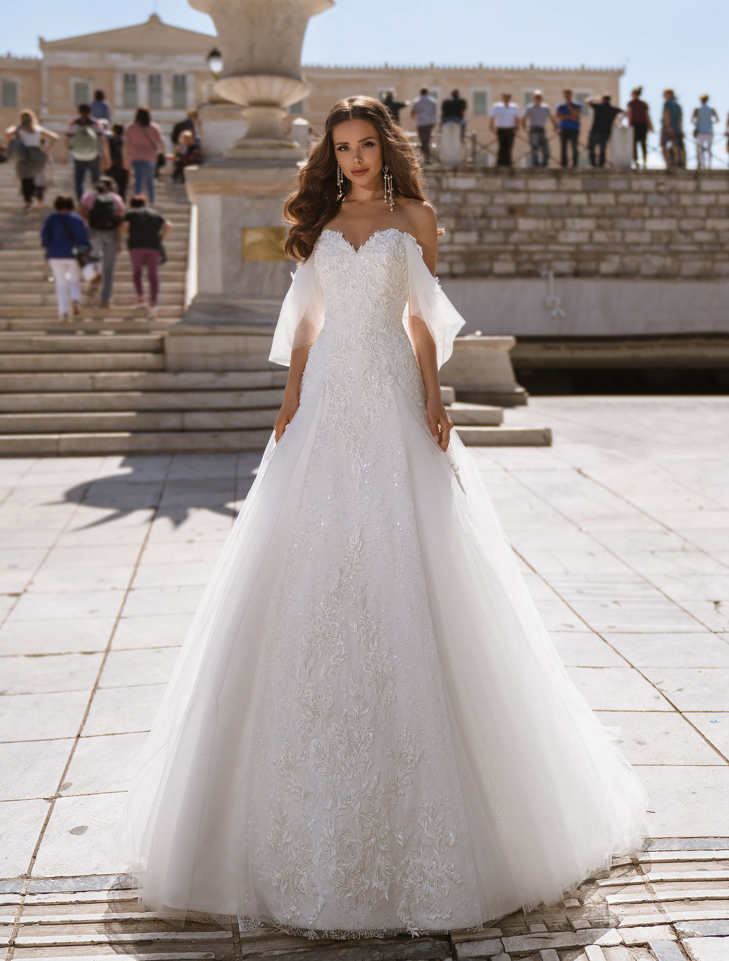 Wedding dress of classic «А» - silhouette with a train from TM Supernova wholesale-1