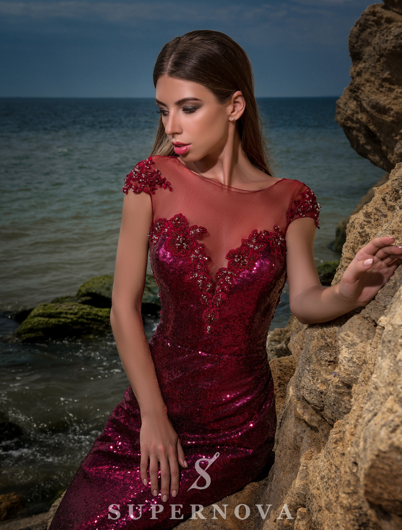Evening dress of sequin material-1