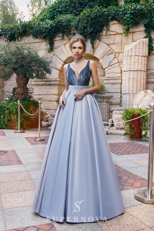 A one-color satin evening dress from the  Super Nova company.-1