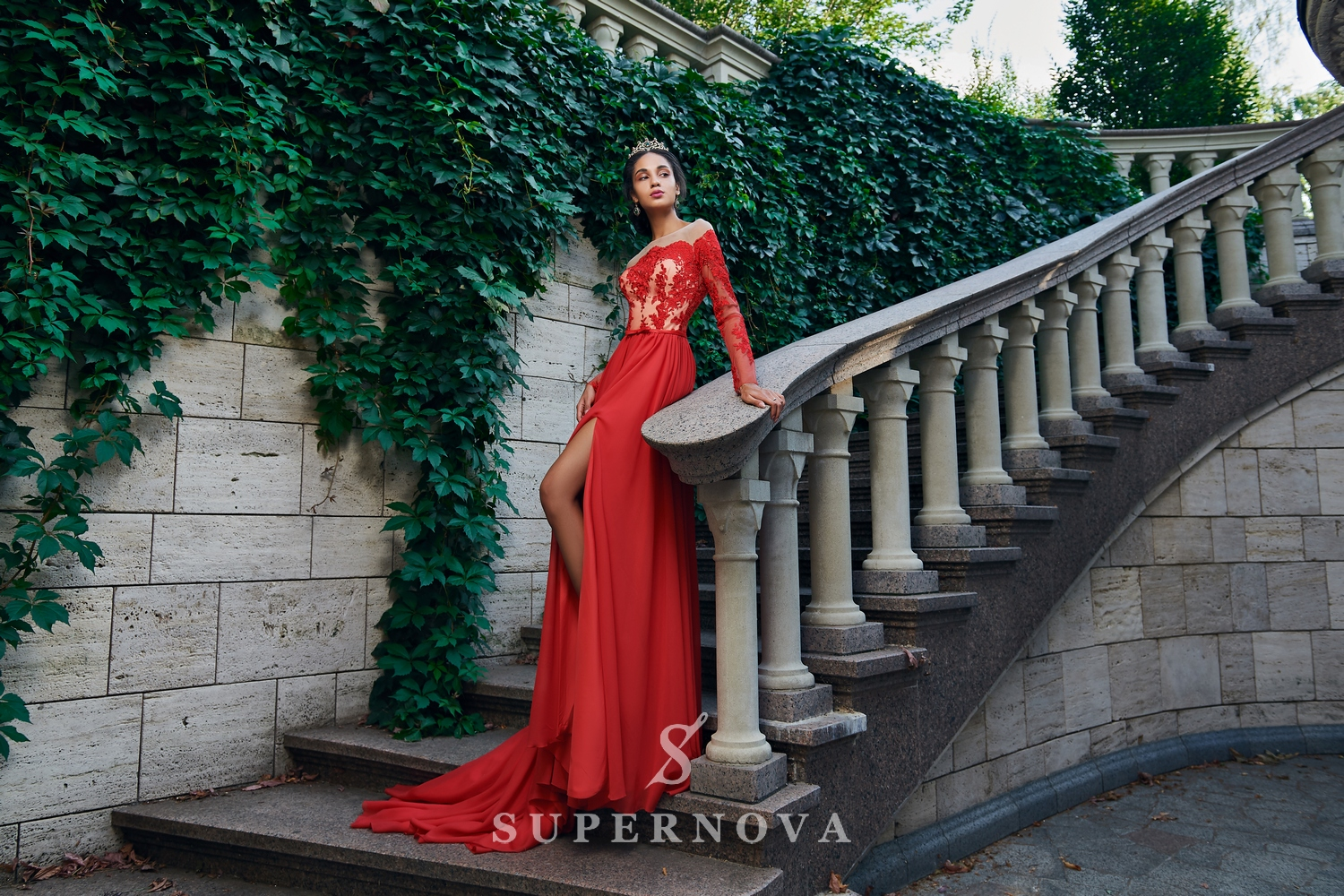 A straight long-sleeved evening dress with the descending skirt from Super Nova.-1