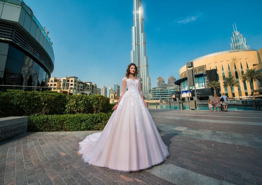 ¾ sleeve wedding dress-4