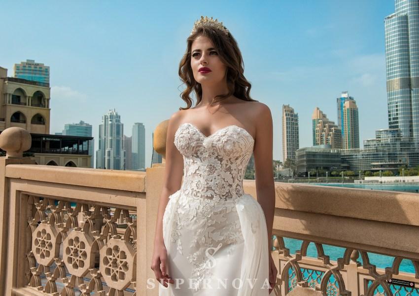 Весільна сукня зі знімним шлейфом-4