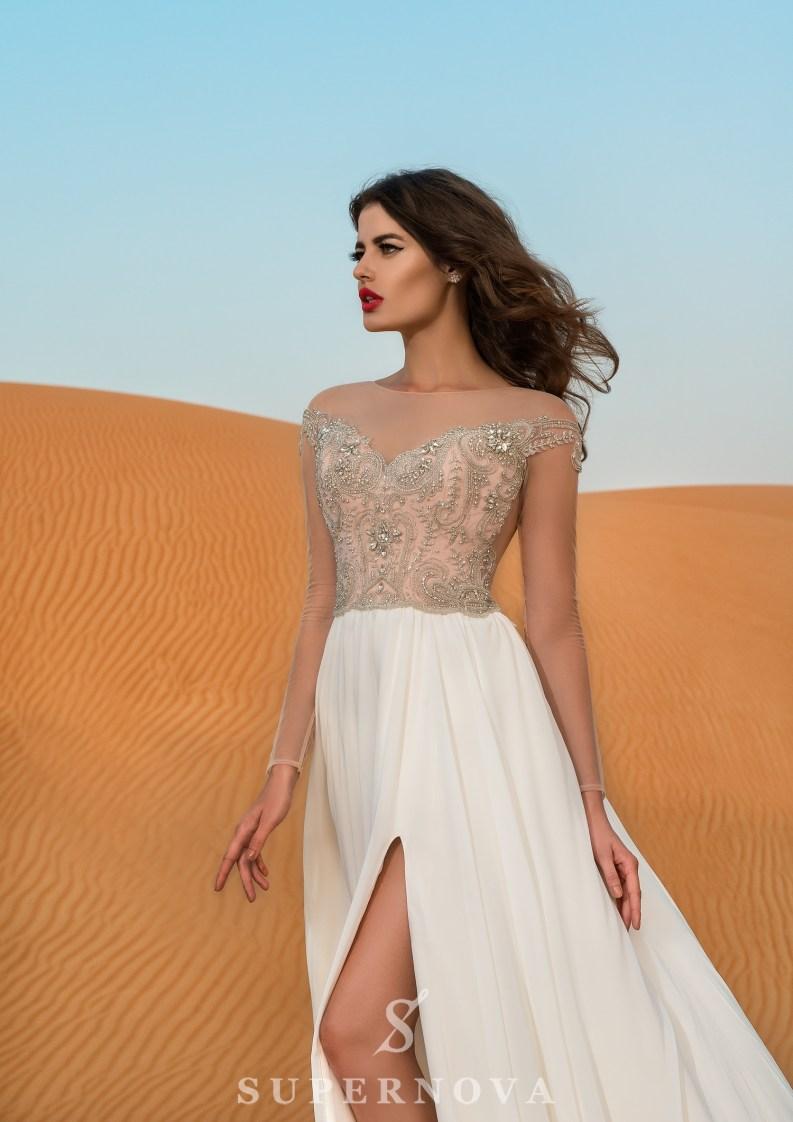 Rochie de mireasă cu mâneci lungi-2