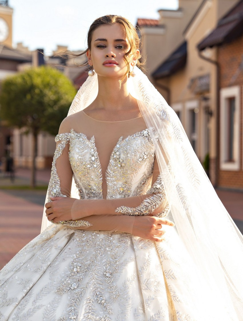 Wedding veil with silver lace wholesale from Supernova-3