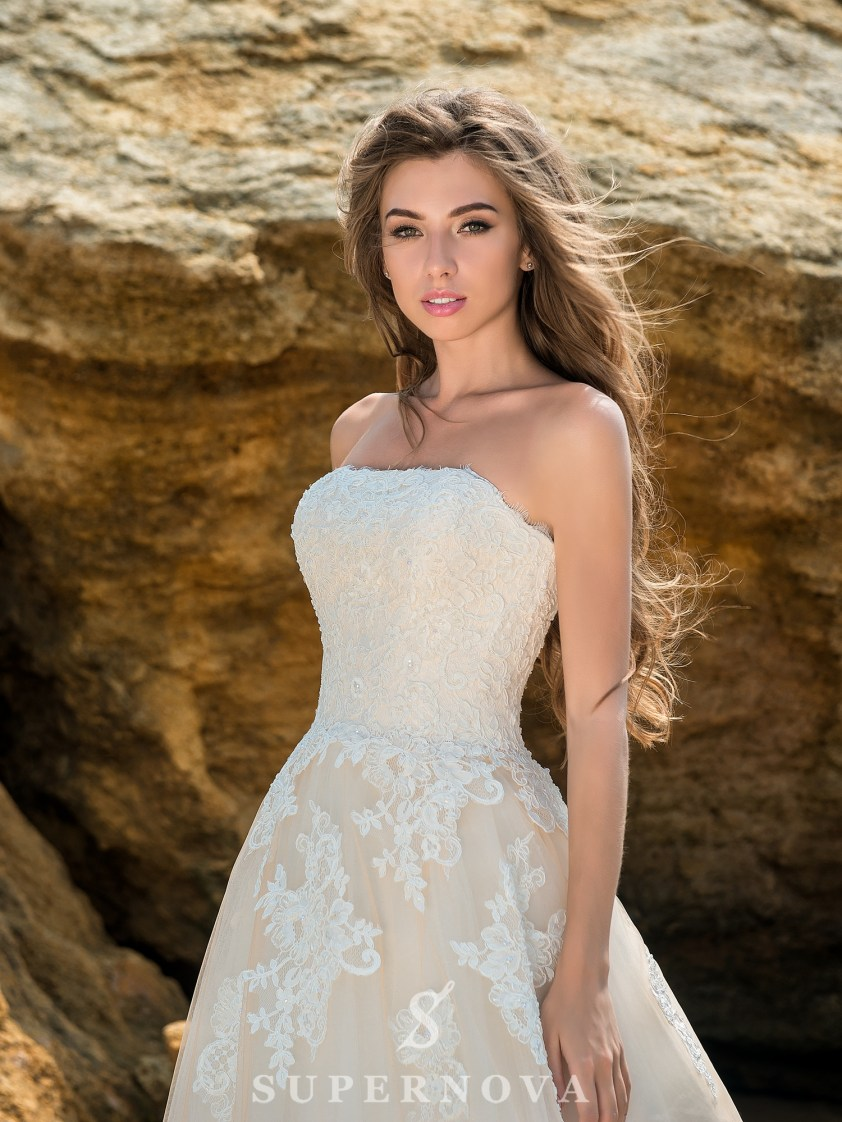 Caramel wedding dress with open shoulders-3