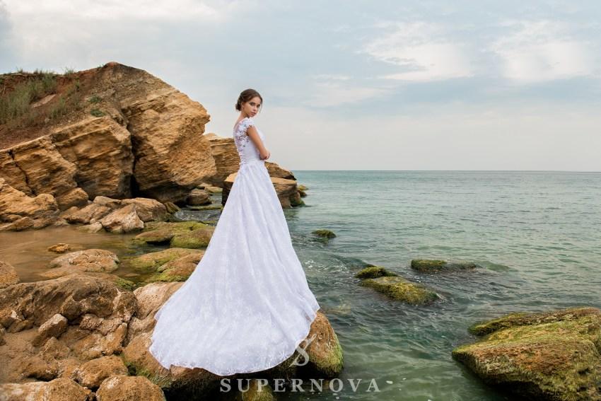 Rochie de mireasă A-line cu corset până la talie-4