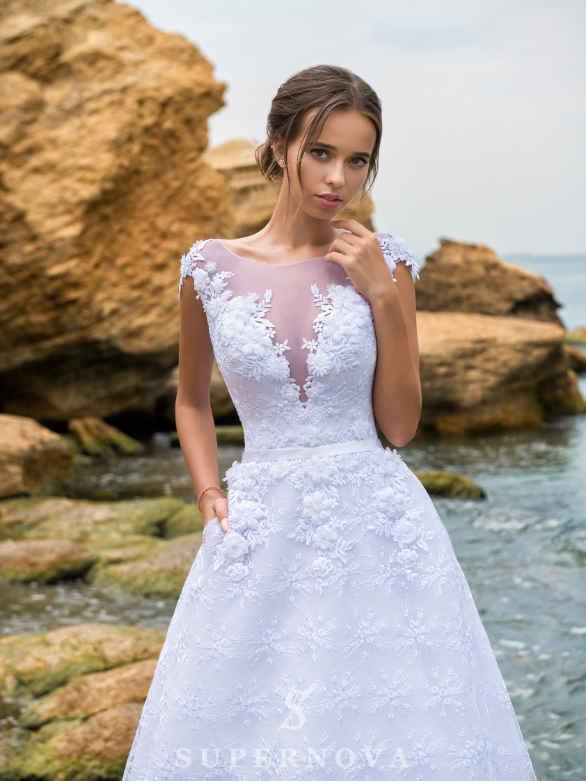 Rochie de mireasă A-line cu corset până la talie-2