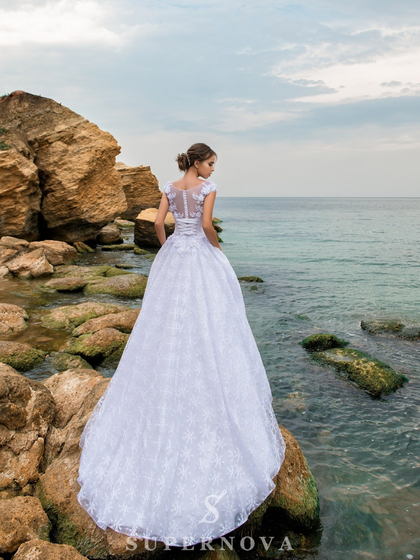 Rochie de mireasă A-line cu corset până la talie-3