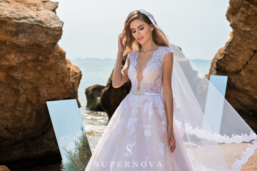 Wedding dress with soft bodice and puffy skirt SN-035-PORTER