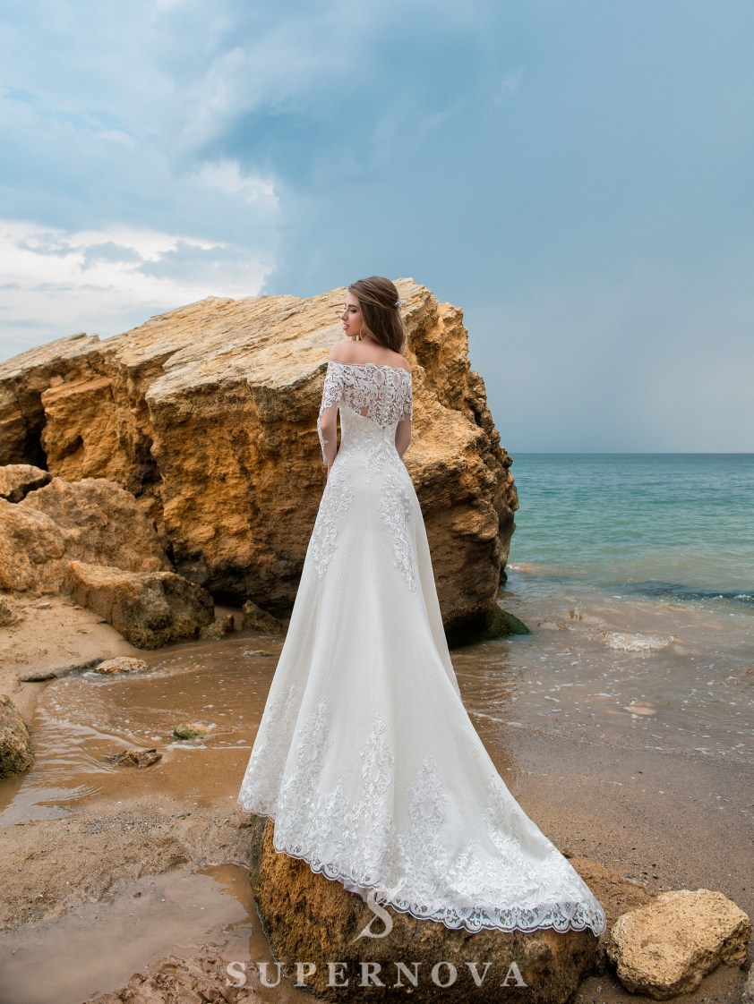 A-line silhouette wedding dress with a train-4