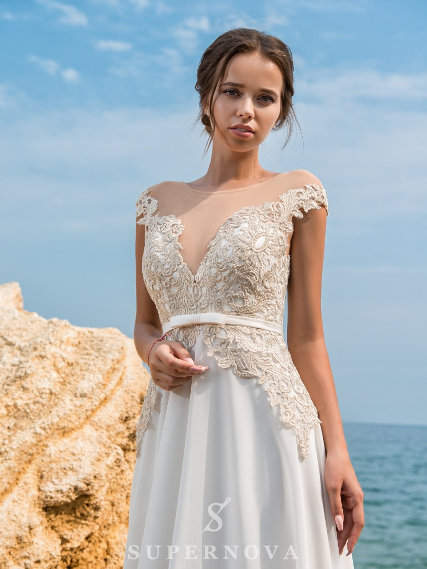 Wedding dress with a short bodice on a yoke-3