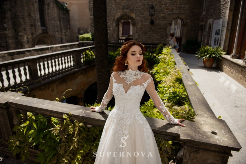 Wedding dress with a fiuffy skirt on a cream basis from SuperNova wholesale SN-052-Beatrice