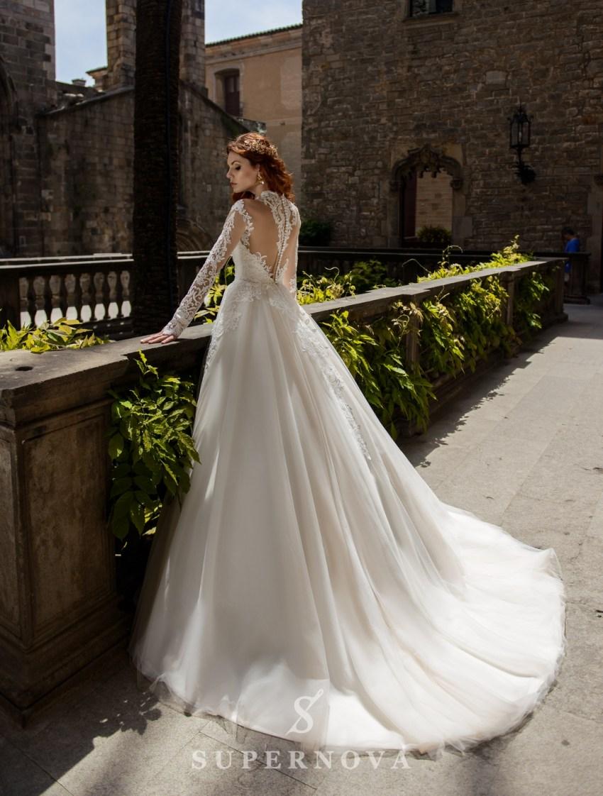 Свадебное платье с пышной юбкой на телесной подсветке от SuperNova оптом-2