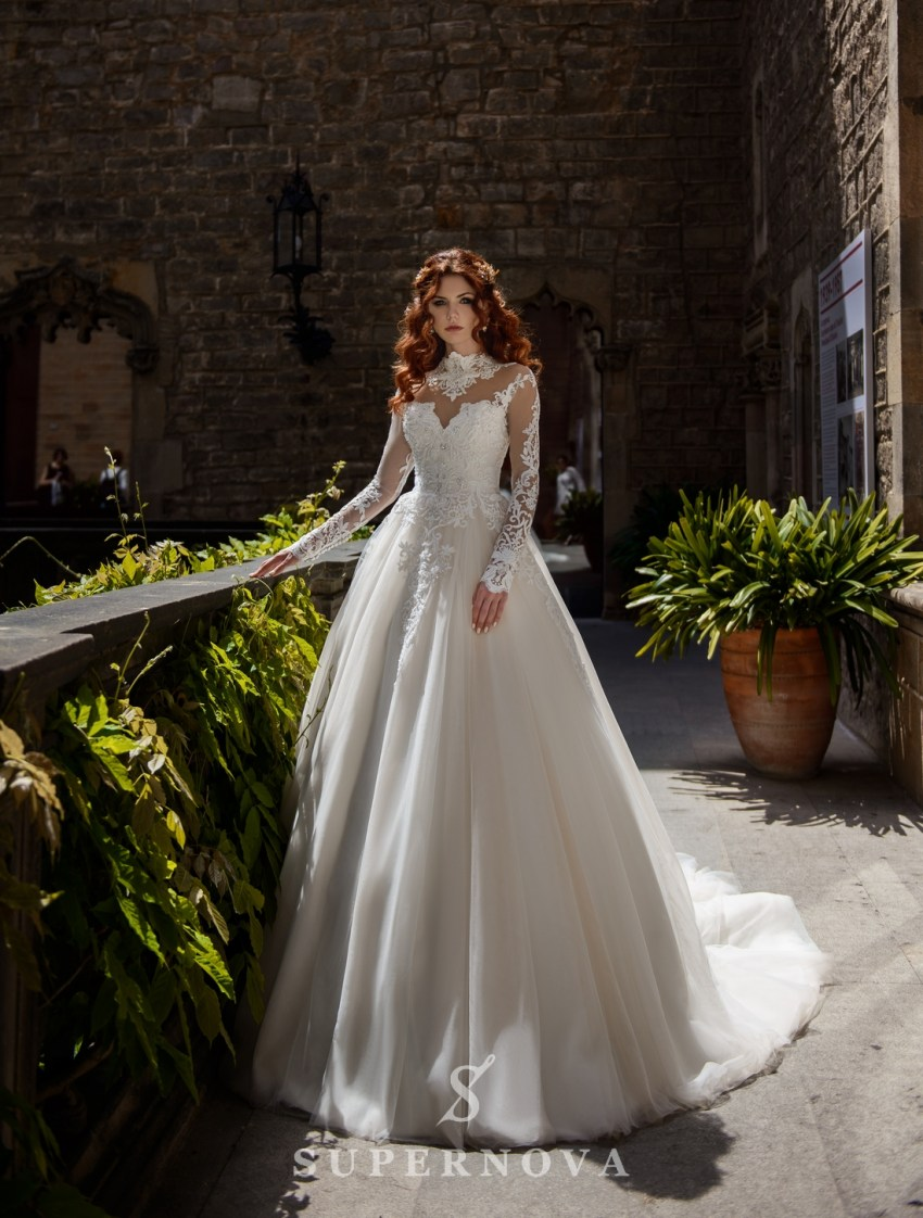 Wedding dress with a fiuffy skirt on a cream basis from SuperNova wholesale-3
