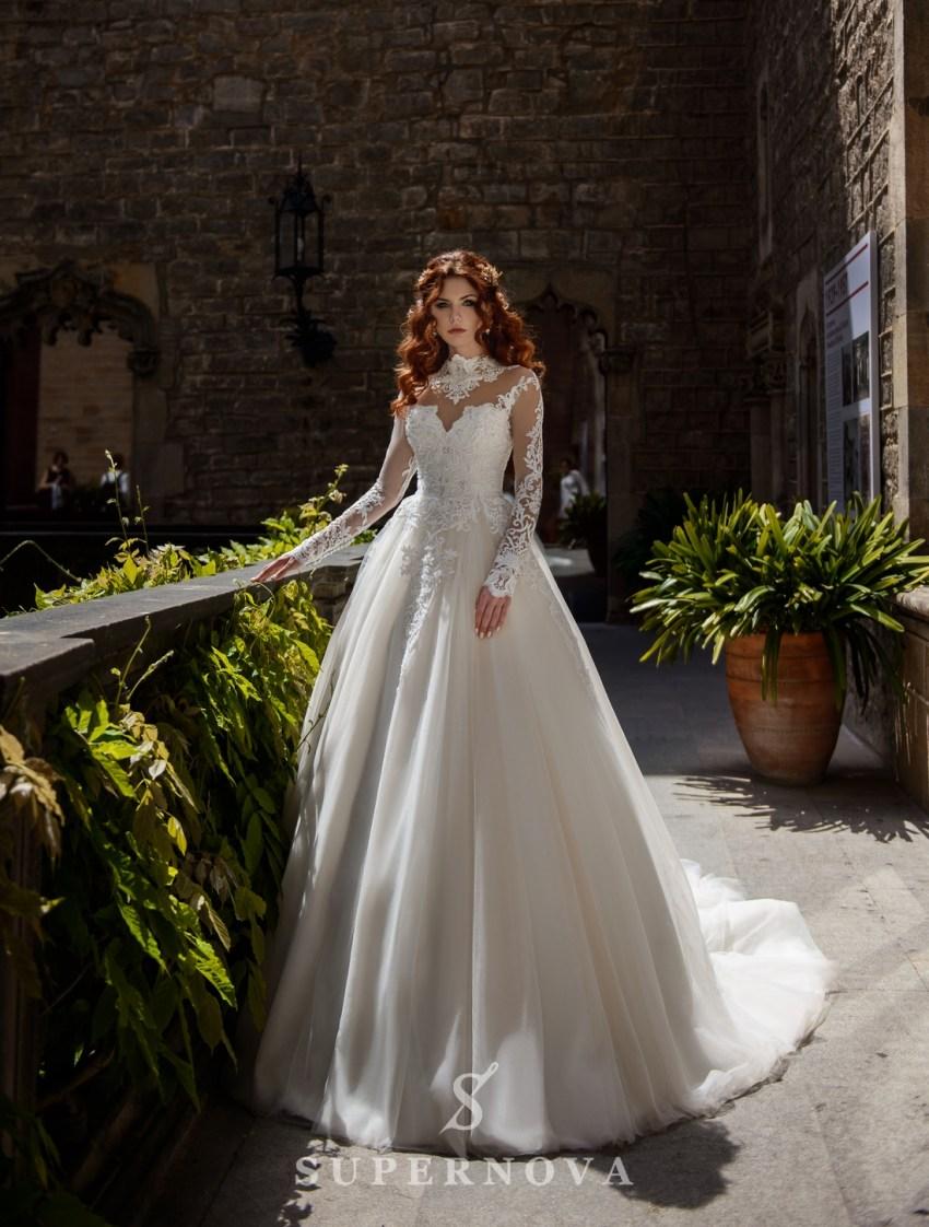 Свадебное платье с пышной юбкой на телесной подсветке от SuperNova оптом-3