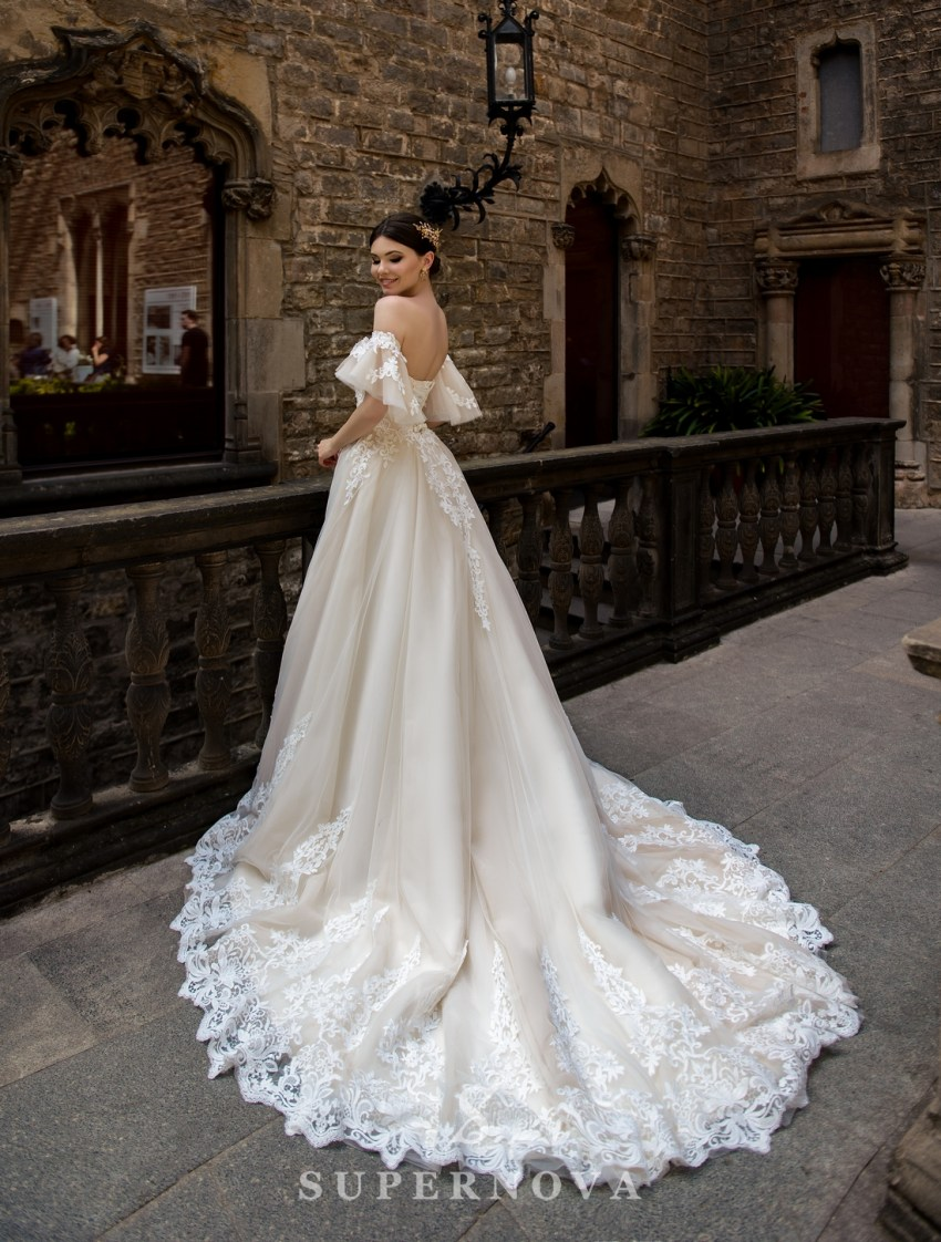 Wedding dress with detachable sleeves wholesale from SuperNova-2