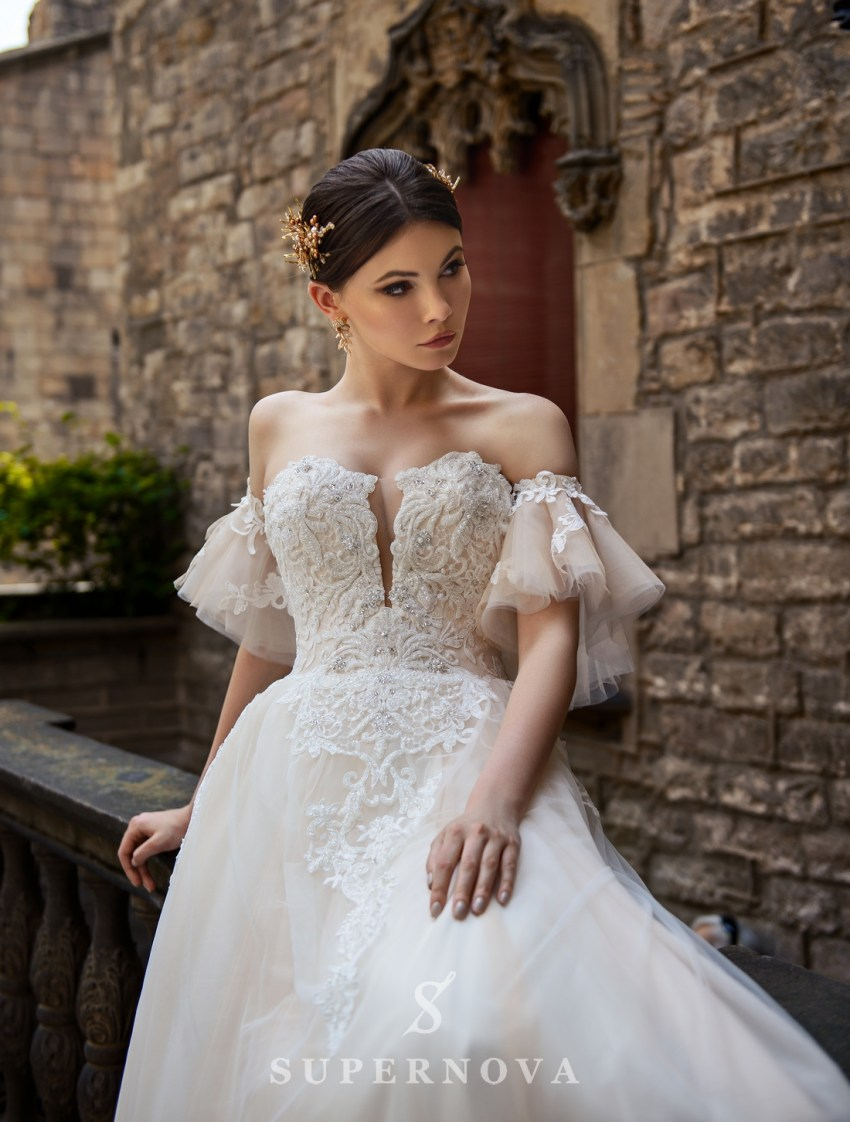 Wedding dress with detachable sleeves wholesale from SuperNova-3