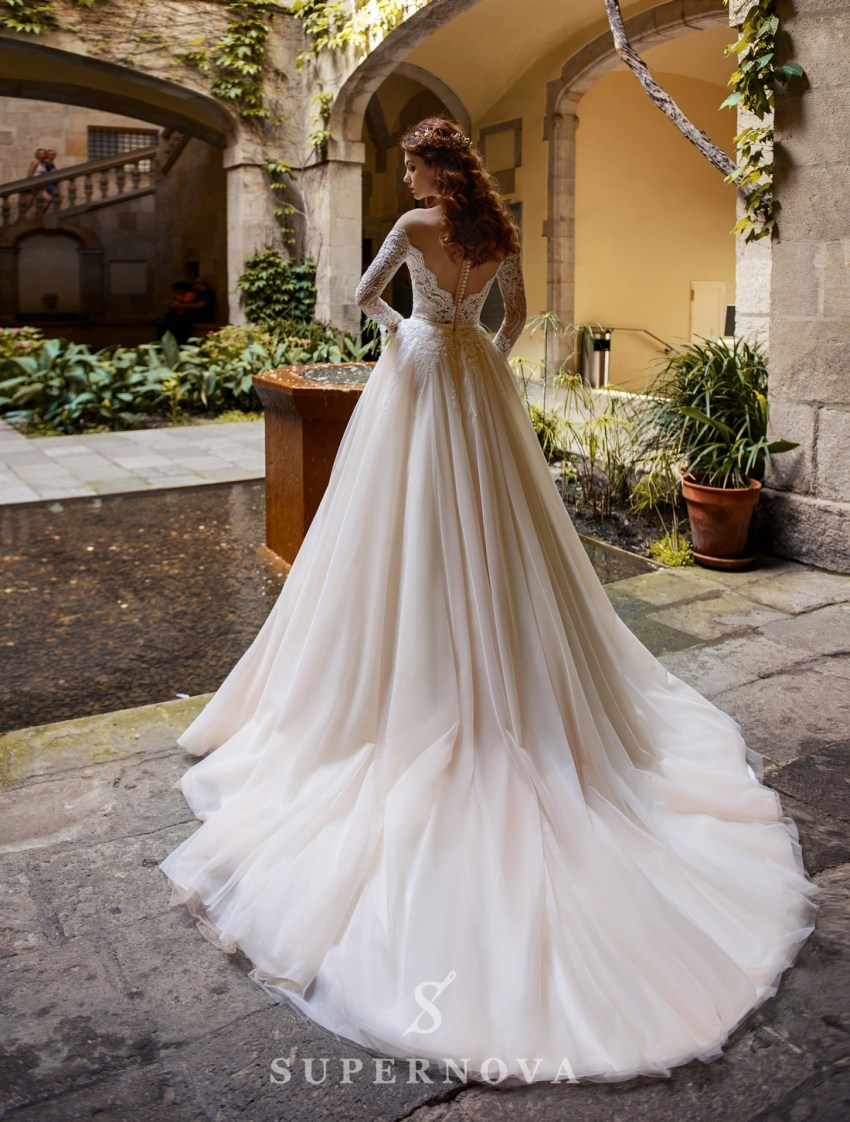 Wedding dress with long sleeves and open shoulders from SuperNova-2