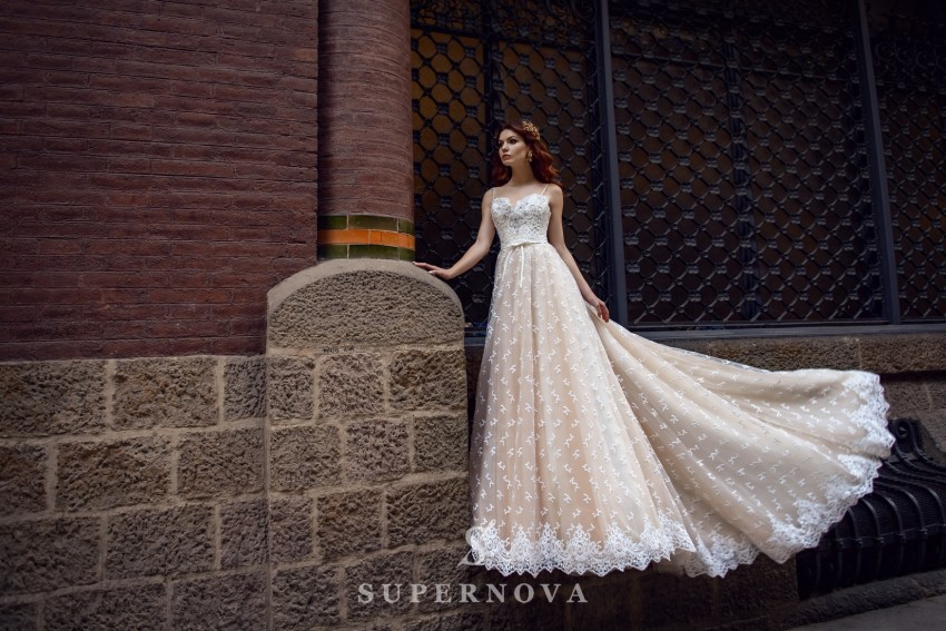Cream wedding dress from SuperNova wholesale SN-058-Bruna