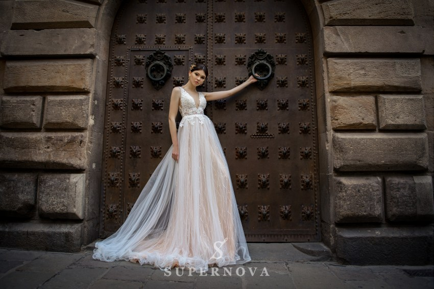 Wedding dress with a deep cut from SuperNova wholesale SN-061-Britny