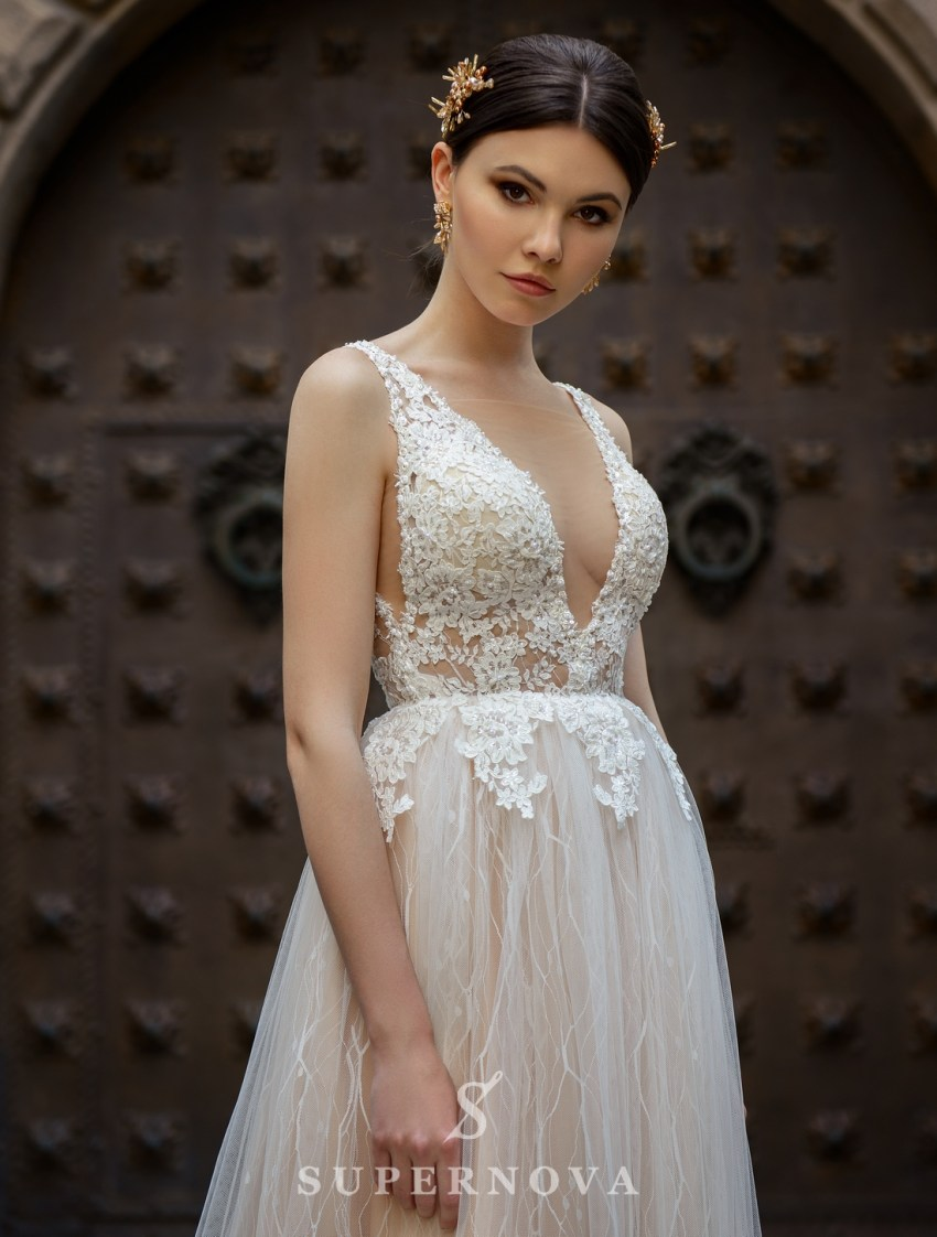 Wedding dress with a deep cut from SuperNova wholesale-3
