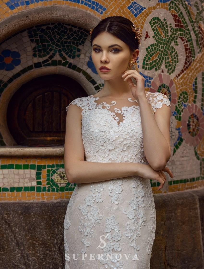 """Весільна сукня силуету «годе» кольору """"капучіно"""" від SuperNova оптом-3"""
