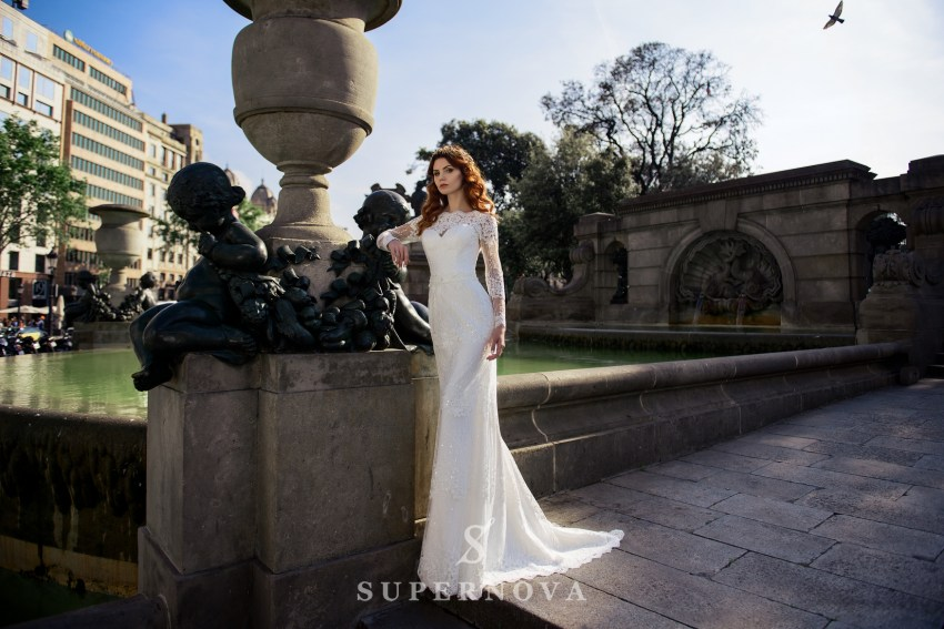 Wedding guipure dress with removable train from SuperNova wholesale-2