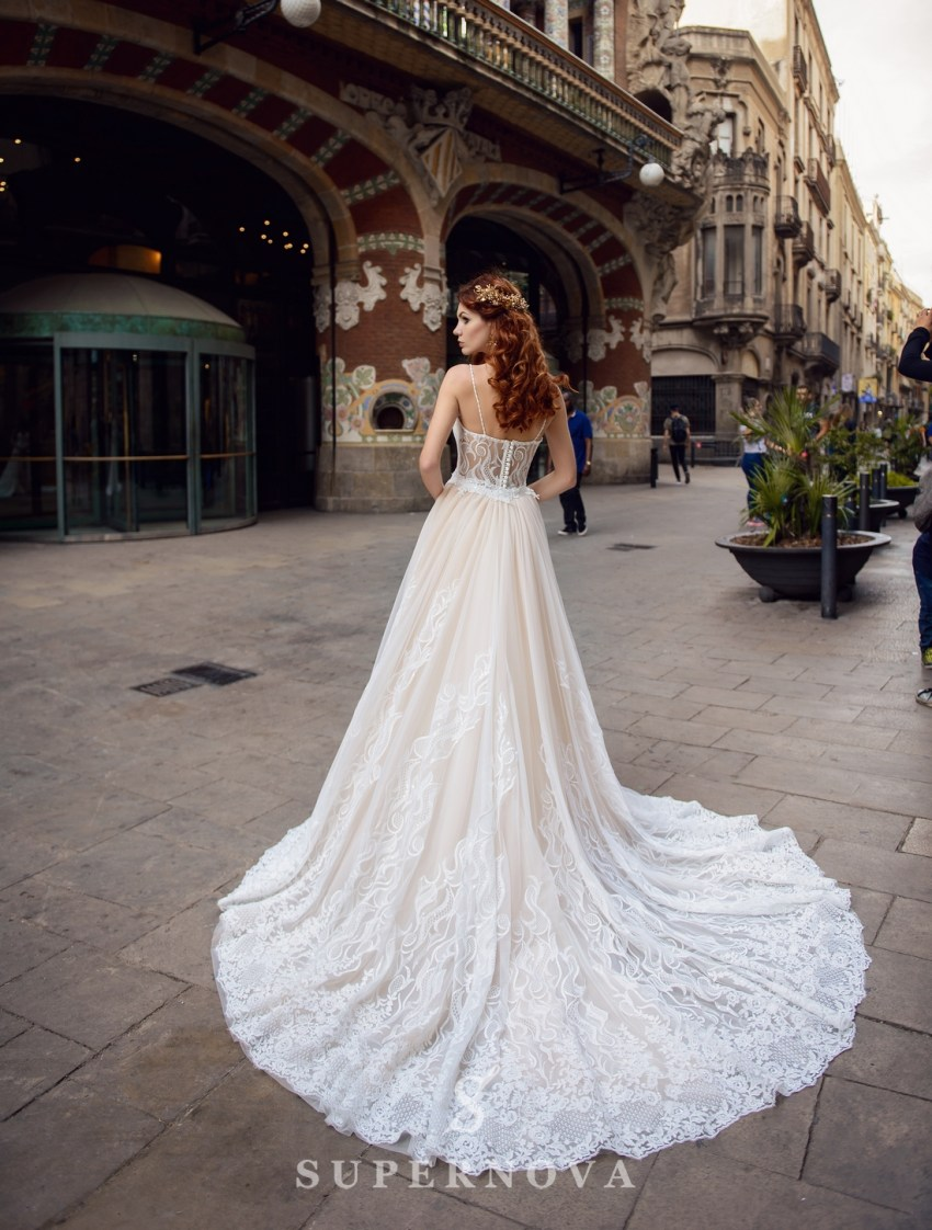 "Wedding dress ""Godet"" with a removable train from SuperNova wholesal-2"