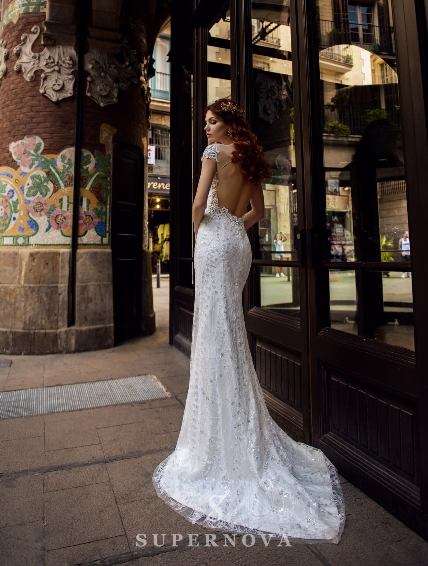 "Wedding dress ""Godet"" of brilliance material  with an open back from SuperNova wholesale-2"