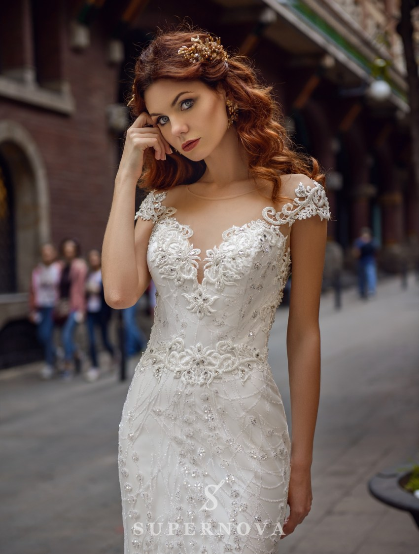 "Wedding dress ""Godet"" of brilliance material  with an open back from SuperNova wholesale-3"