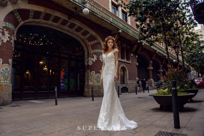 "Wedding dress ""Godet"" of brilliance material  with an open back from SuperNova wholesale SN-068-Briella"