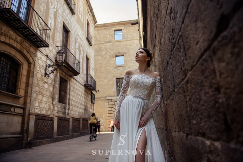 Wedding dress with slit and train from SuperNova wholesale SN-070-Bogdana