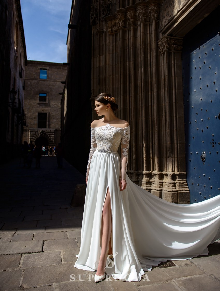 Wedding dress with slit and train from SuperNova wholesale-3