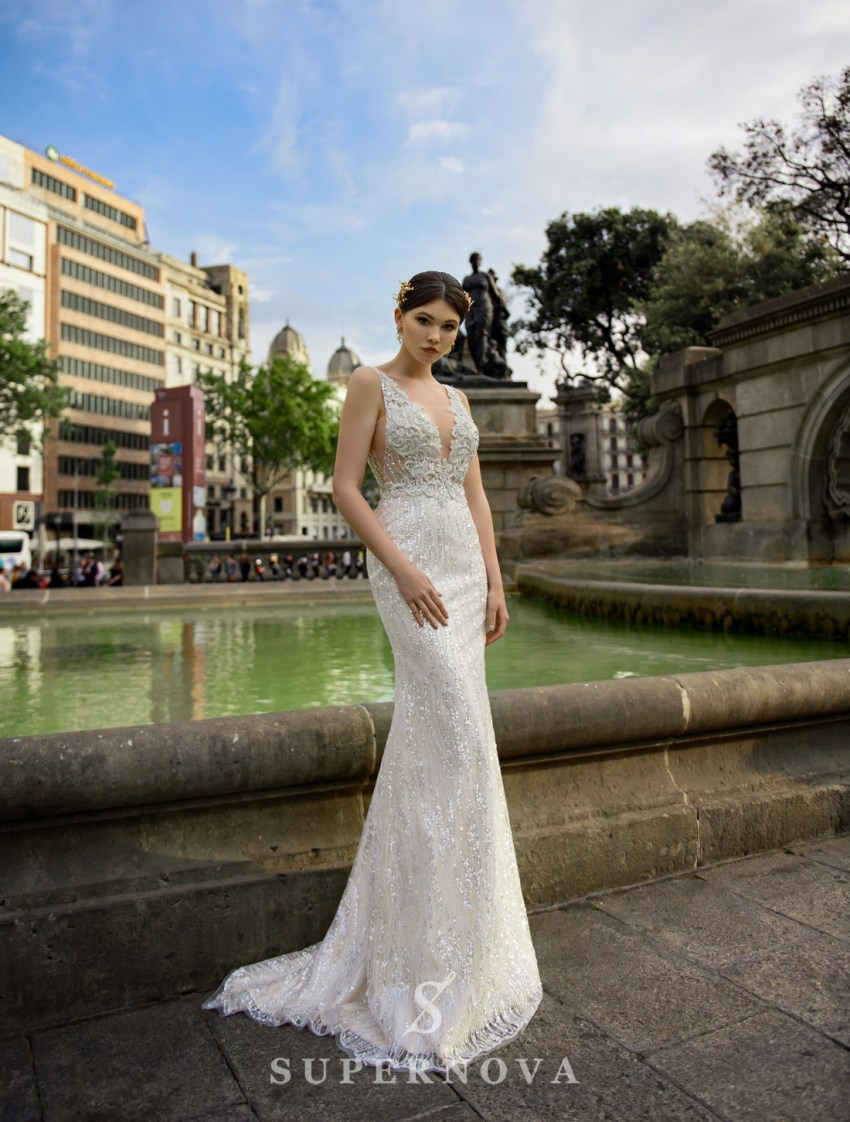 "Wedding dress ""Godet"" with straps of fabric-glitter from Supernova wholesale-3"