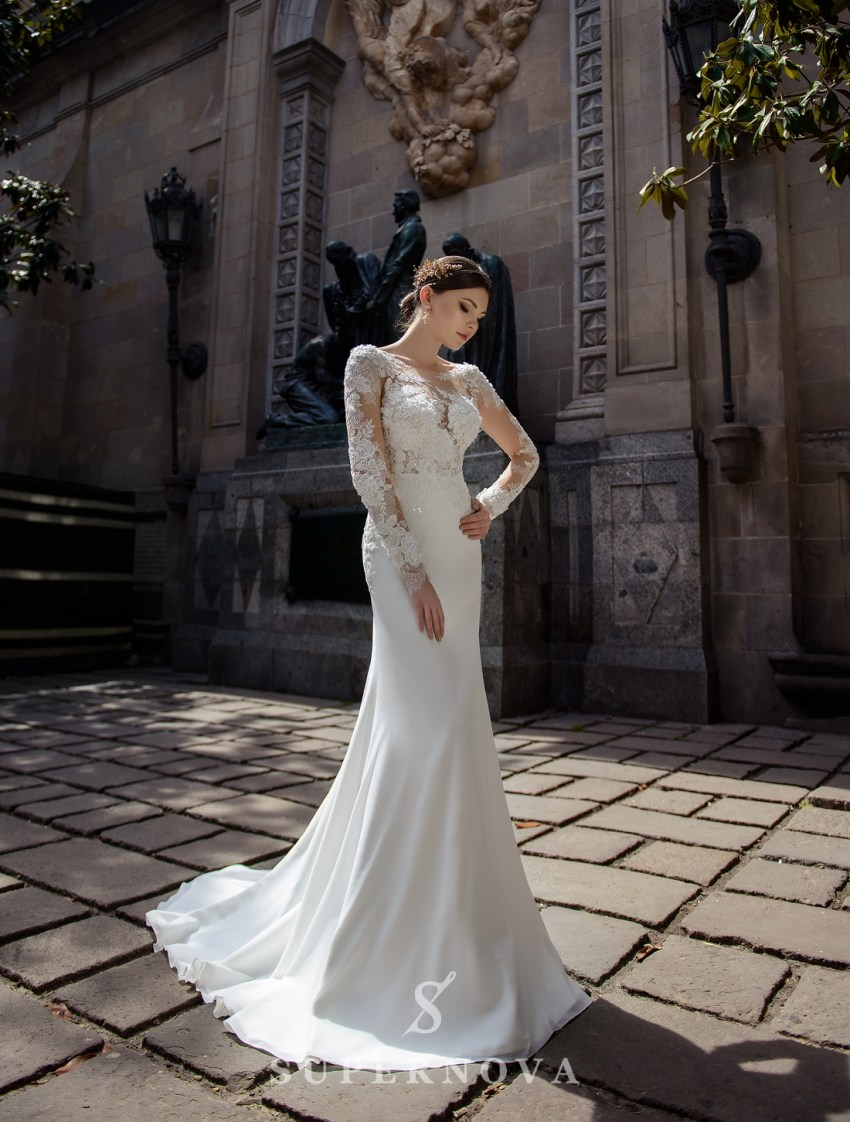 Wedding dress with appliqués and a soft train skirt from Supernova wholesale-3