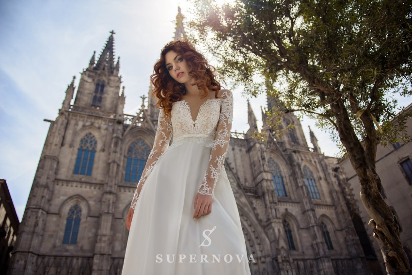 Wedding dress with short  corset and long sleeves wholesale from Supernova SN-074-Bea