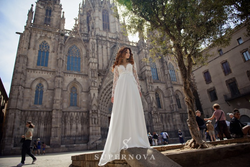 Wedding dress with short  corset and long sleeves wholesale from Supernova-2