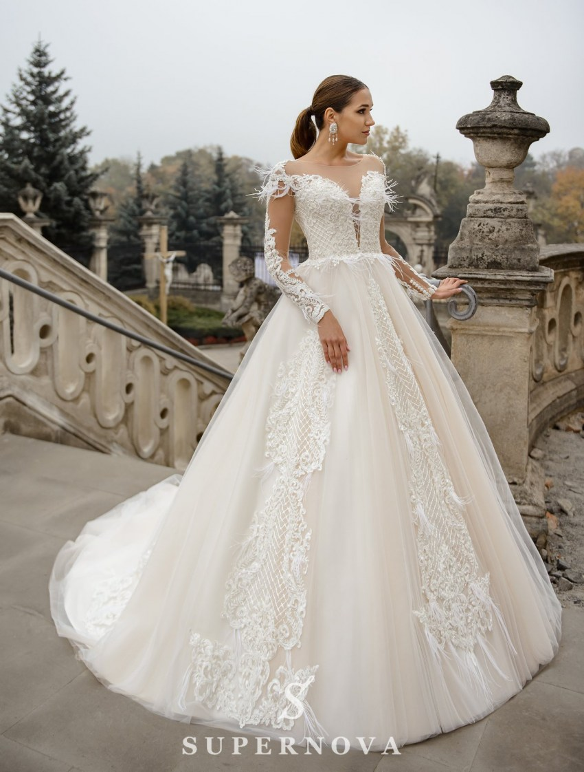 Ivory wedding dress with a skin-toned lining, long sleeves on wholesale from SuperNova-3